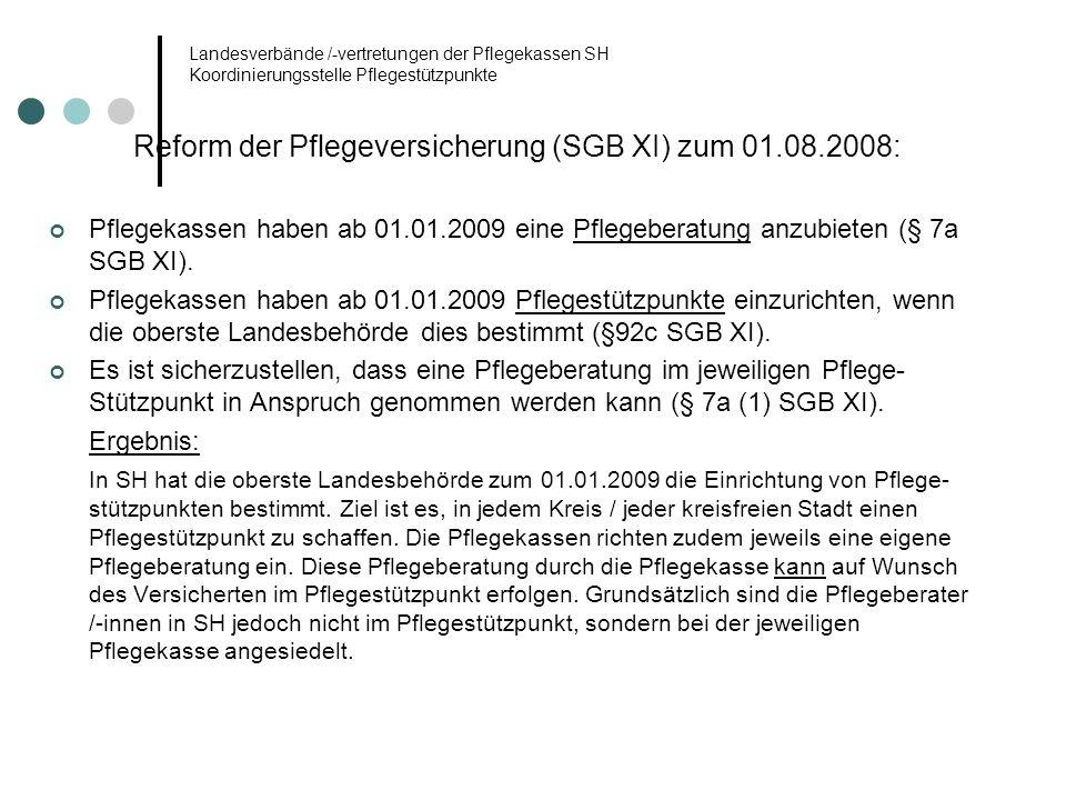 Reform der Pflegeversicherung (SGB XI) zum 01.08.2008:
