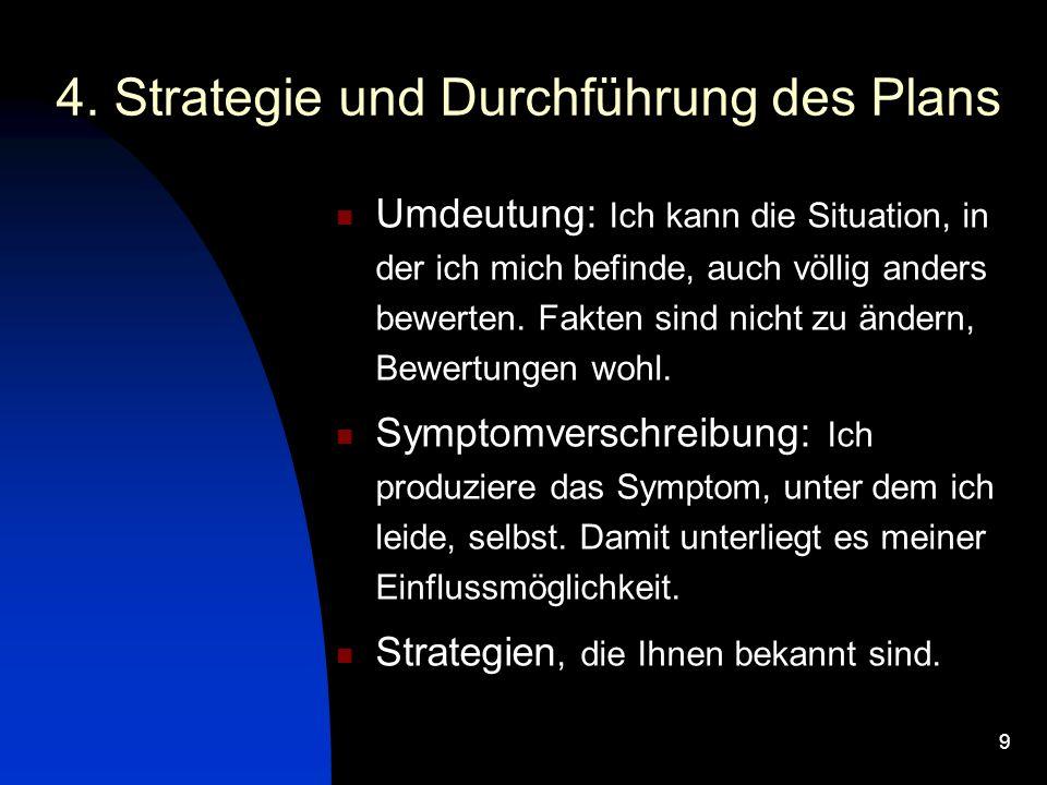 4. Strategie und Durchführung des Plans