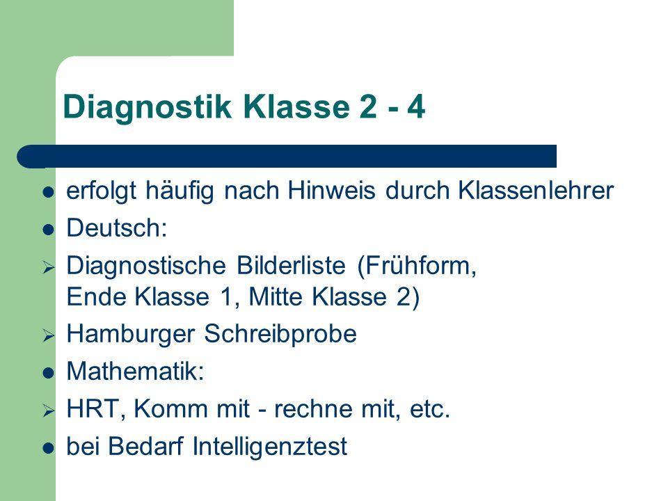 Diagnostik Klasse 2 - 4 erfolgt häufig nach Hinweis durch Klassenlehrer. Deutsch: