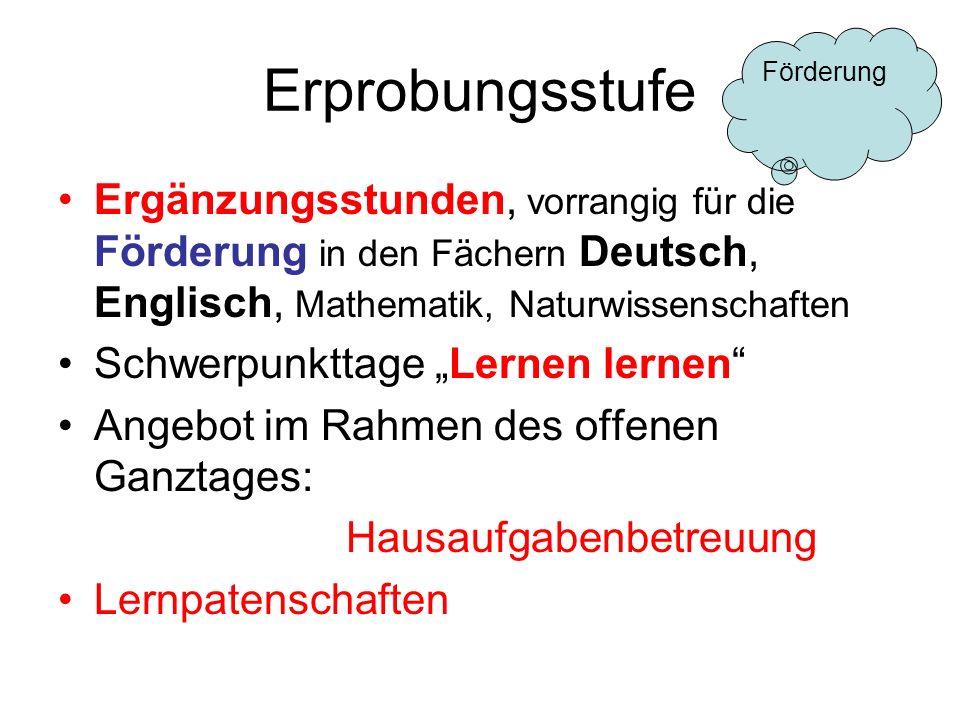 Erprobungsstufe Förderung. Ergänzungsstunden, vorrangig für die Förderung in den Fächern Deutsch, Englisch, Mathematik, Naturwissenschaften.