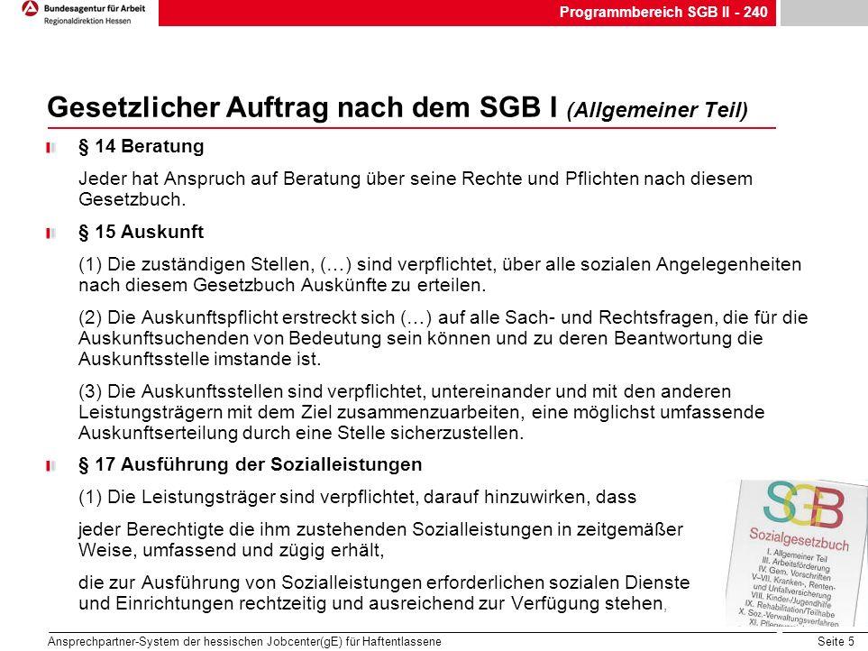 Gesetzlicher Auftrag nach dem SGB I (Allgemeiner Teil)