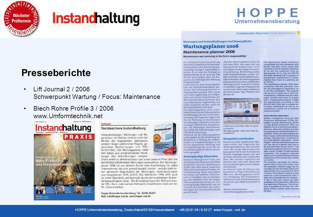 Presseberichte Lift Journal 2 / 2006 Schwerpunkt Wartung / Focus: Maintenance.