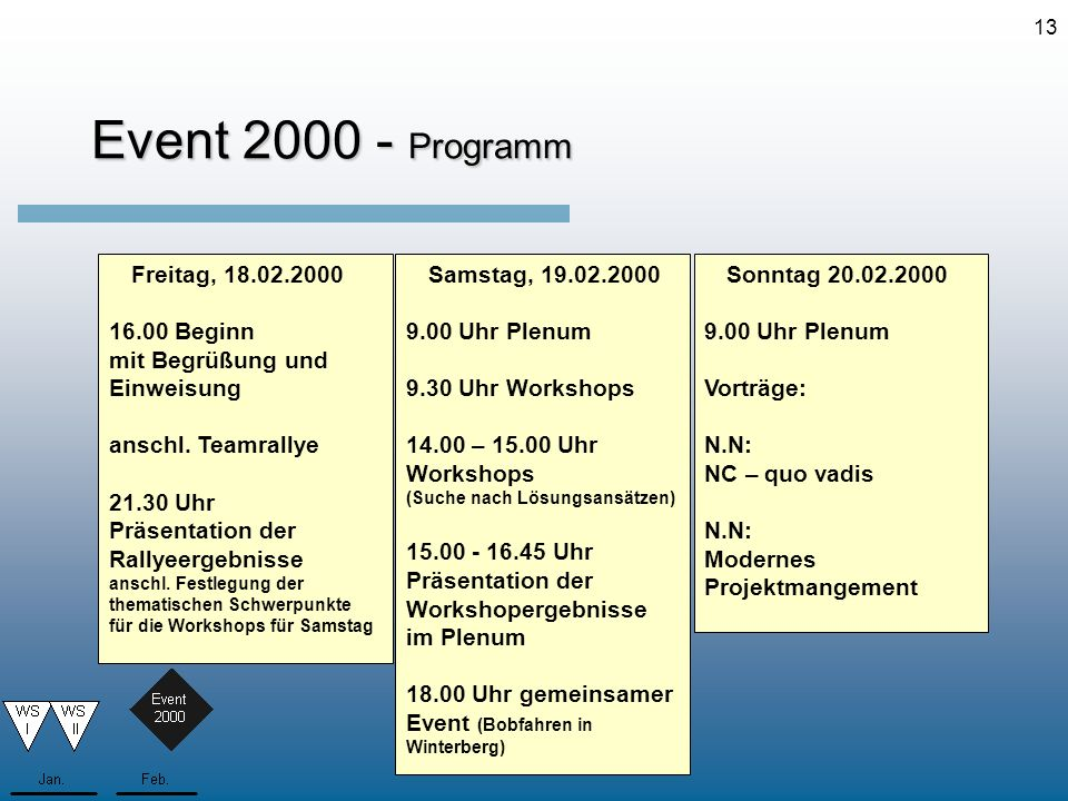 Event 2000 - Programm Freitag, 18.02.2000