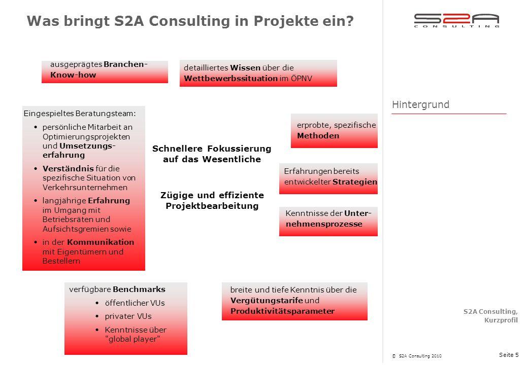 Was bringt S2A Consulting in Projekte ein