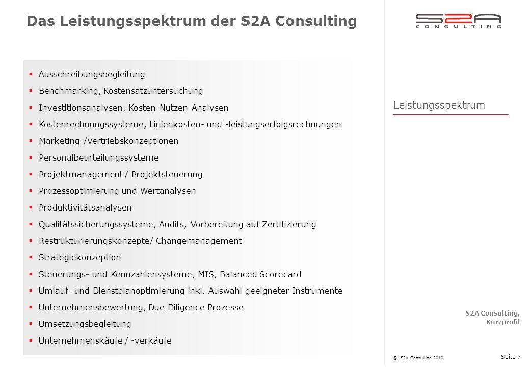 Das Leistungsspektrum der S2A Consulting