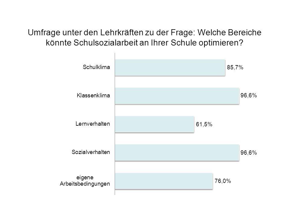 Umfrage unter den Lehrkräften zu der Frage: Welche Bereiche könnte Schulsozialarbeit an Ihrer Schule optimieren