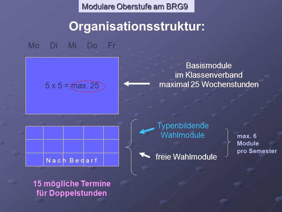 Organisationsstruktur: 15 mögliche Termine für Doppelstunden