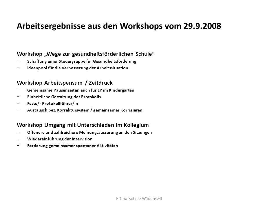 Arbeitsergebnisse aus den Workshops vom 29.9.2008