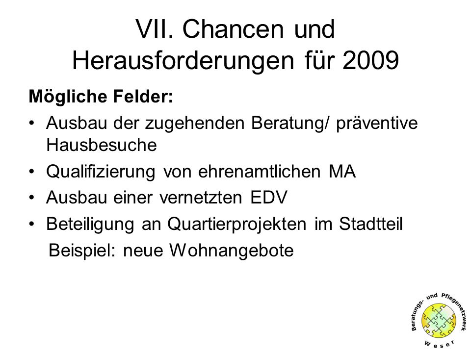 VII. Chancen und Herausforderungen für 2009