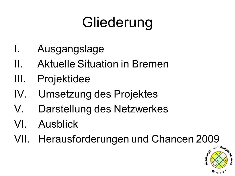 Gliederung I. Ausgangslage II. Aktuelle Situation in Bremen