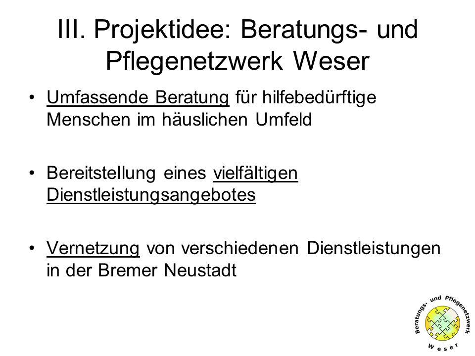 III. Projektidee: Beratungs- und Pflegenetzwerk Weser