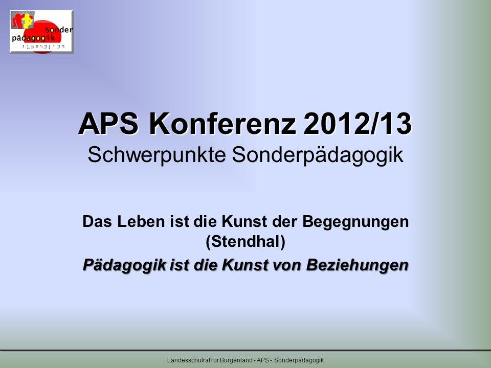 APS Konferenz 2012/13 Schwerpunkte Sonderpädagogik