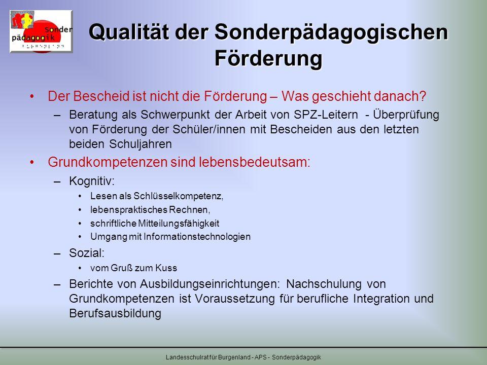 Qualität der Sonderpädagogischen Förderung