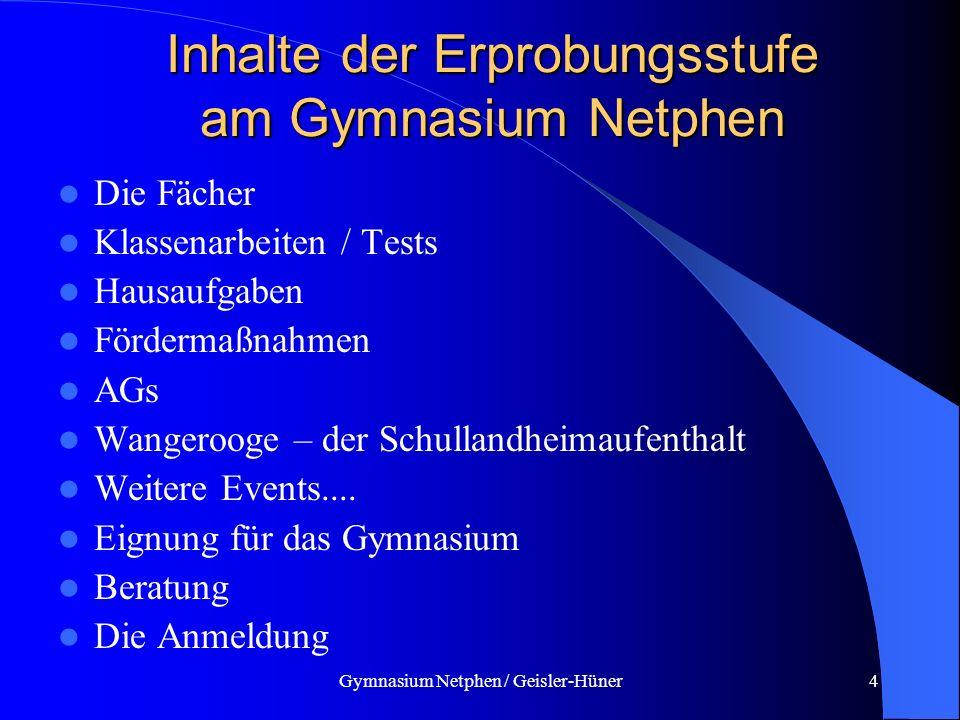 Inhalte der Erprobungsstufe am Gymnasium Netphen