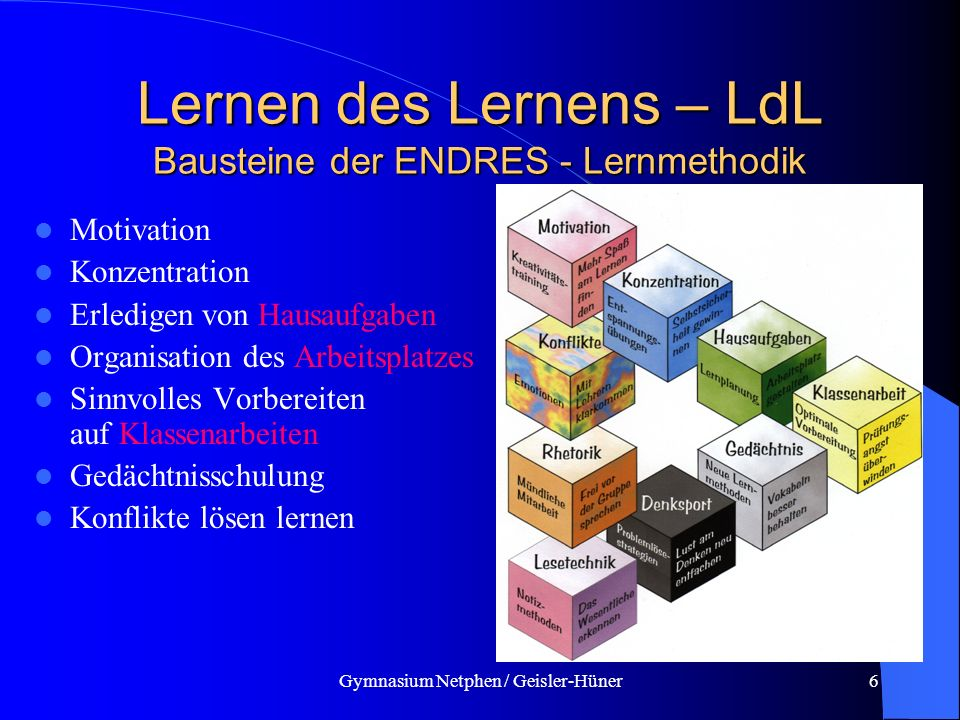 Lernen des Lernens – LdL Bausteine der ENDRES - Lernmethodik