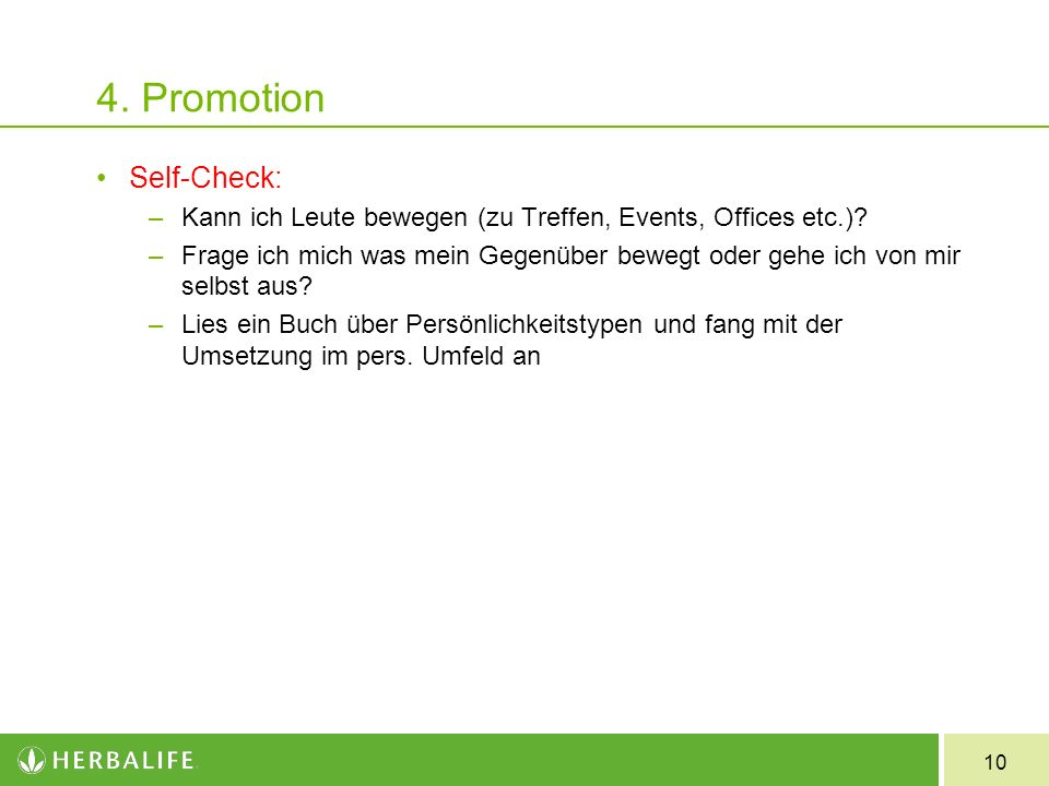 4. Promotion Self-Check: