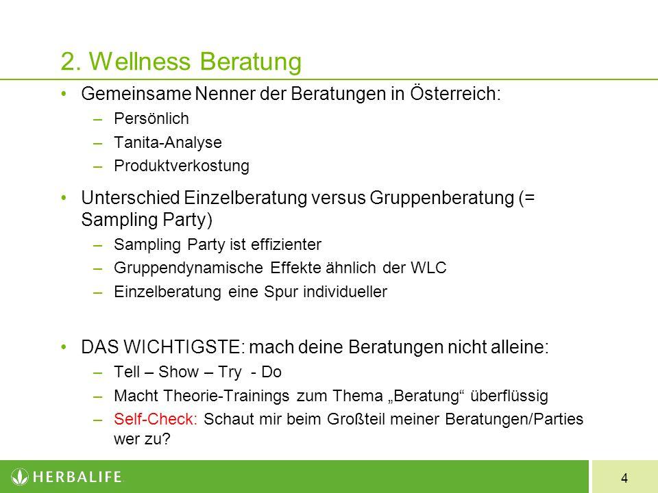2. Wellness Beratung Gemeinsame Nenner der Beratungen in Österreich: