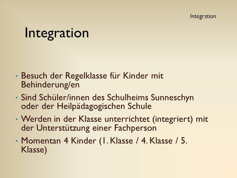Integration Besuch der Regelklasse für Kinder mit Behinderung/en