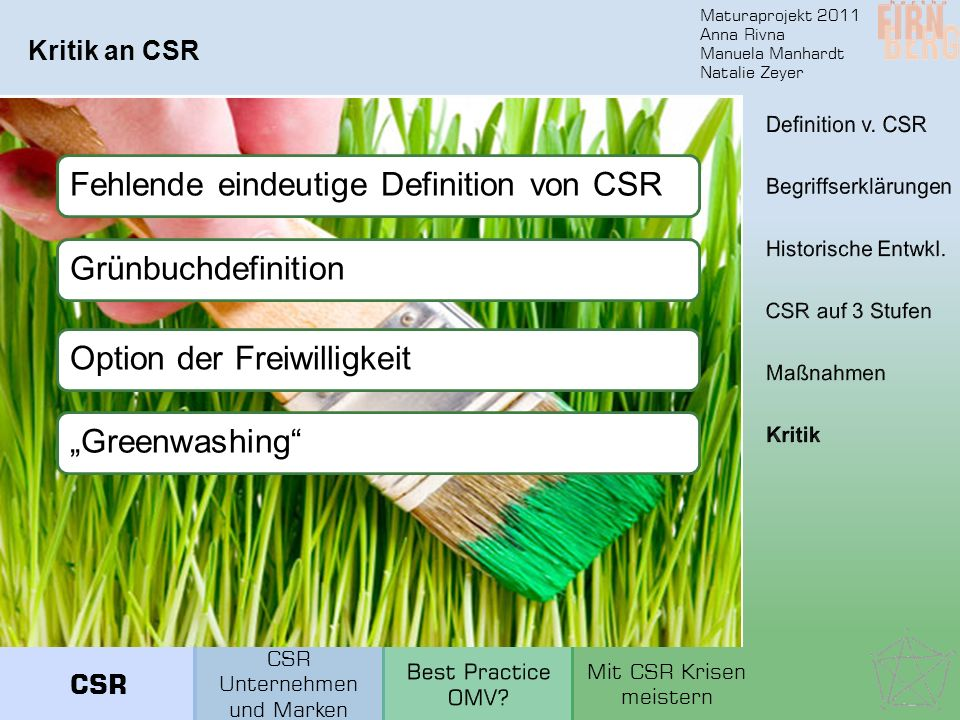 Fehlende eindeutige Definition von CSR