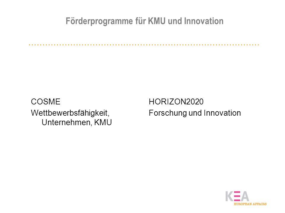 Förderprogramme für KMU und Innovation