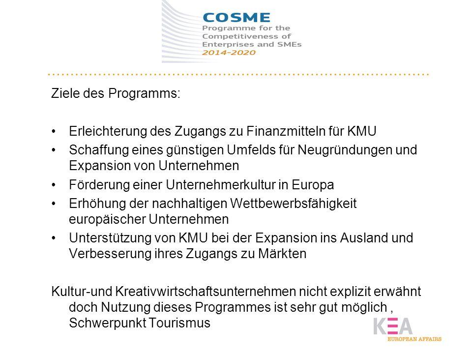 COSME Ziele des Programms: