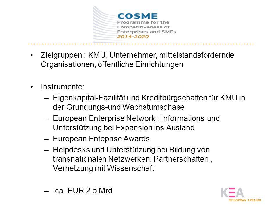 COSME II Zielgruppen : KMU, Unternehmer, mittelstandsfördernde Organisationen, öffentliche Einrichtungen.