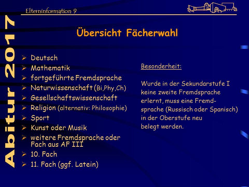 Abitur 2017 Übersicht Fächerwahl Deutsch Mathematik