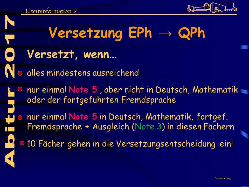 Versetzung EPh → QPh Abitur 2017 Versetzt, wenn…