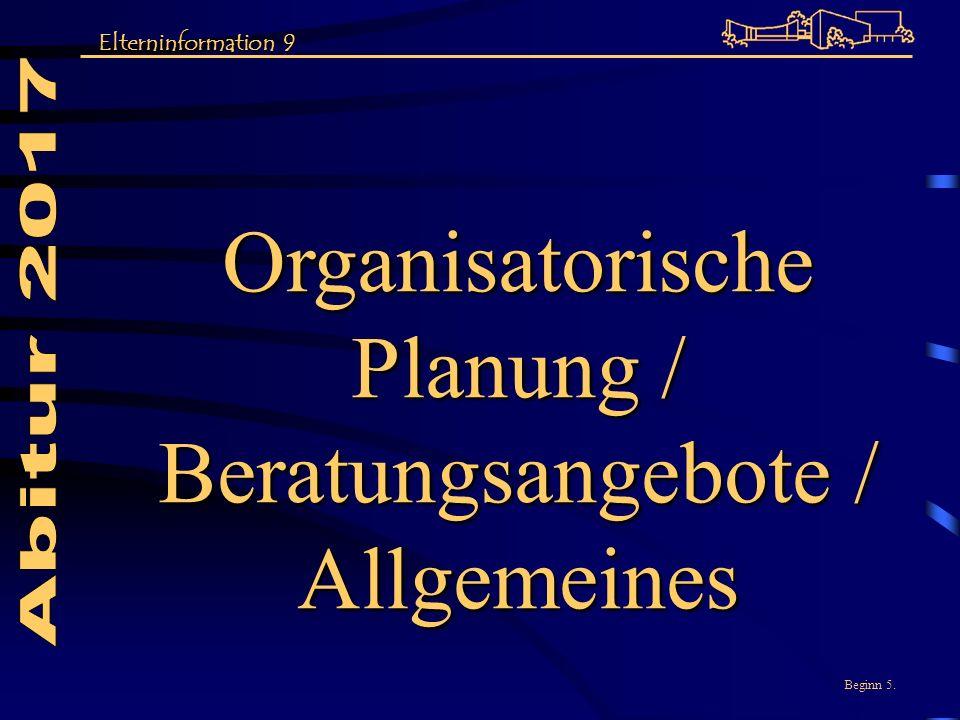 Organisatorische Planung / Beratungsangebote /