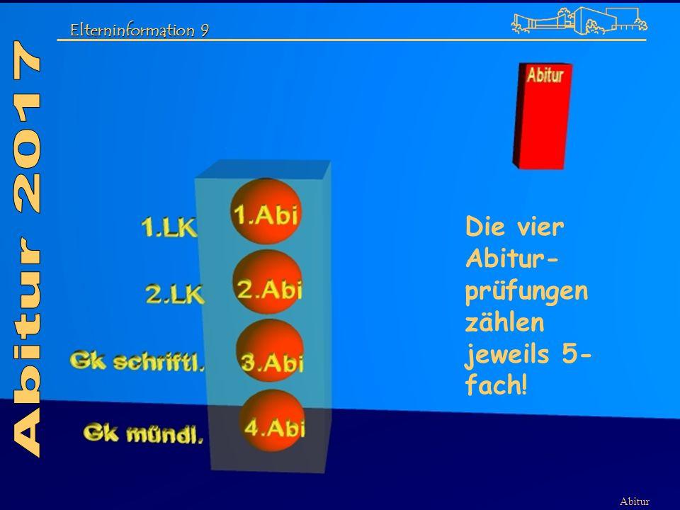 Abitur 2017 Die vier Abitur-prüfungen zählen jeweils 5-fach!