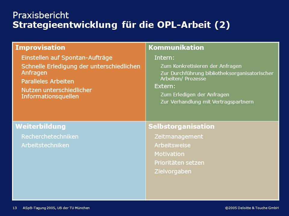 Praxisbericht Strategieentwicklung für die OPL-Arbeit (2)