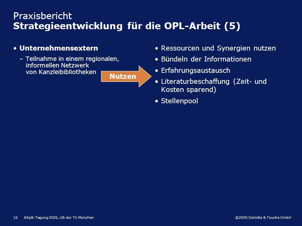Praxisbericht Strategieentwicklung für die OPL-Arbeit (5)