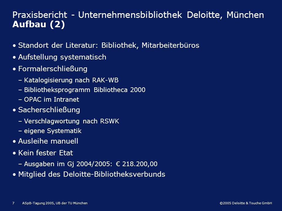 Praxisbericht - Unternehmensbibliothek Deloitte, München Aufbau (2)