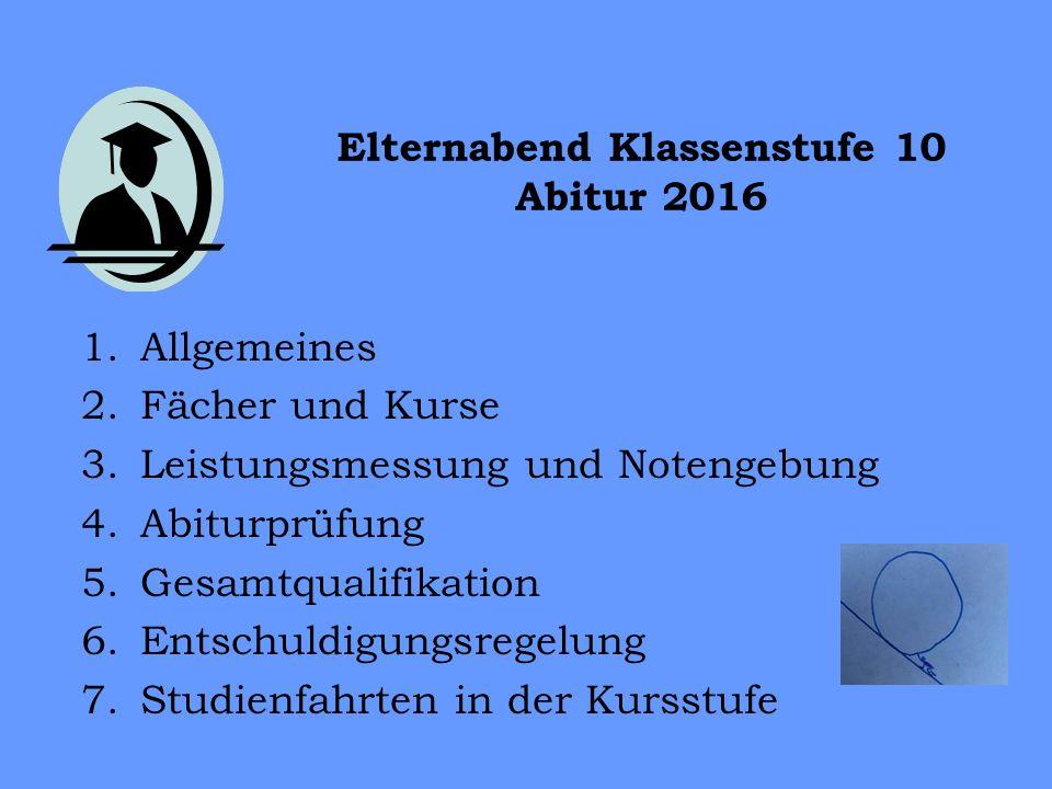 Elternabend Klassenstufe 10 Abitur 2016