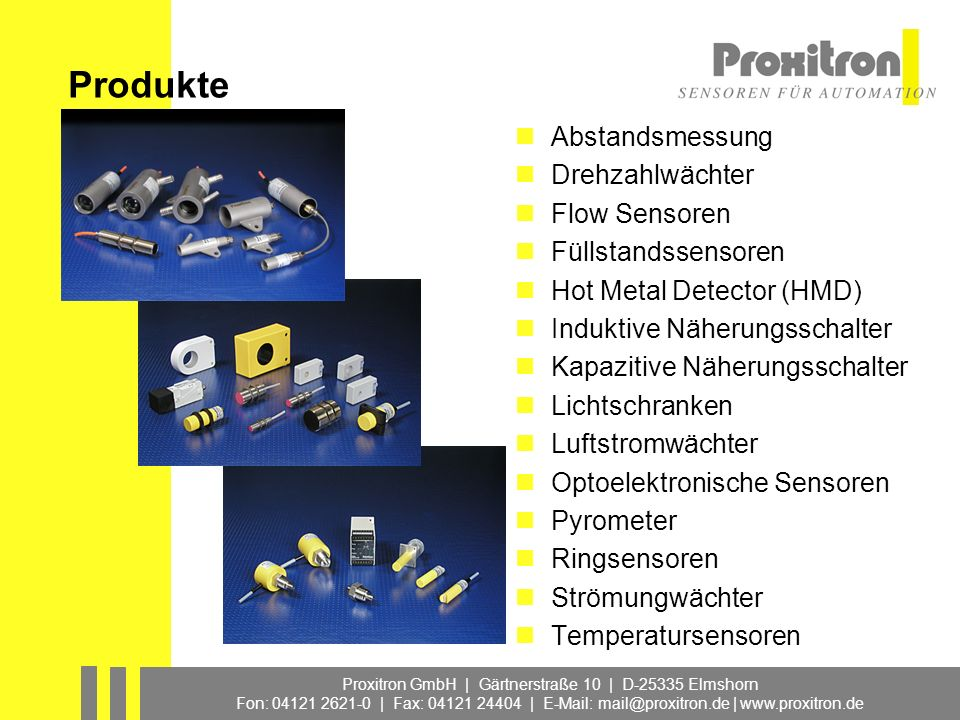 Produkte Abstandsmessung Drehzahlwächter Flow Sensoren