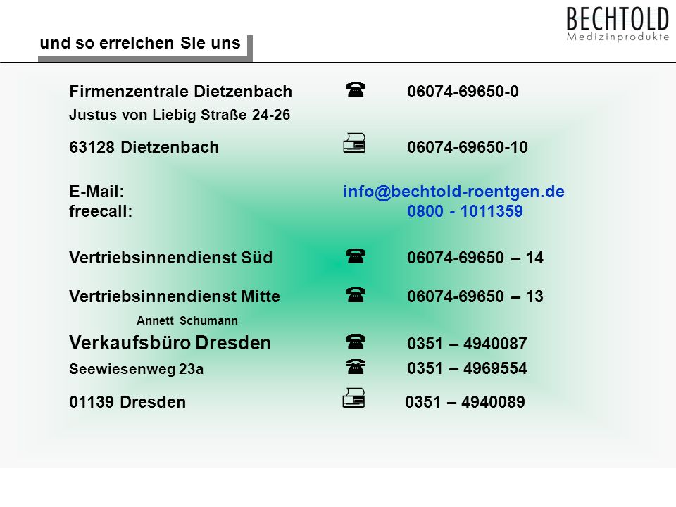 Verkaufsbüro Dresden  0351 – 4940087
