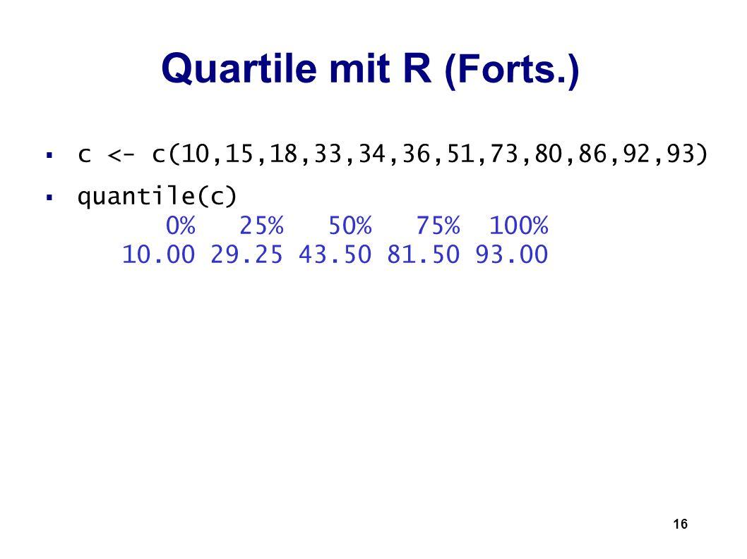 Quartile mit R (Forts.) c <- c(10,15,18,33,34,36,51,73,80,86,92,93)