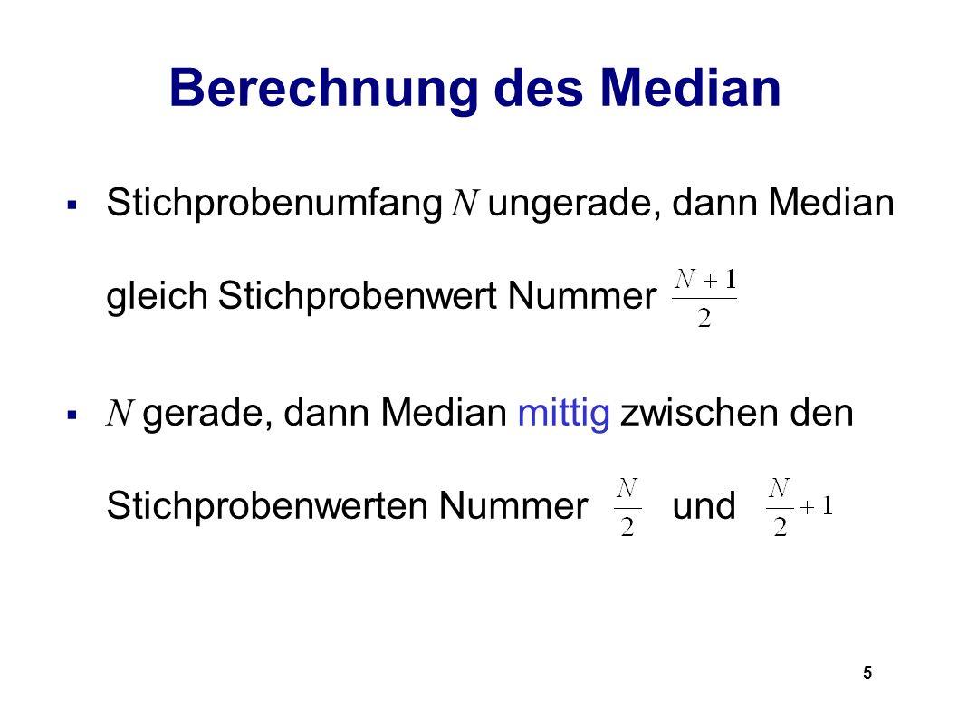 Berechnung des Median Stichprobenumfang N ungerade, dann Median gleich Stichprobenwert Nummer.