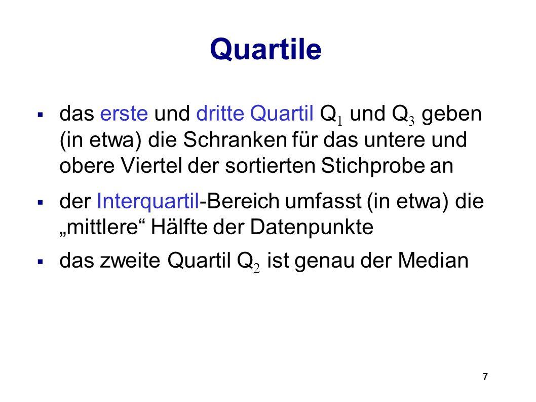 Quartile das erste und dritte Quartil Q1 und Q3 geben (in etwa) die Schranken für das untere und obere Viertel der sortierten Stichprobe an.