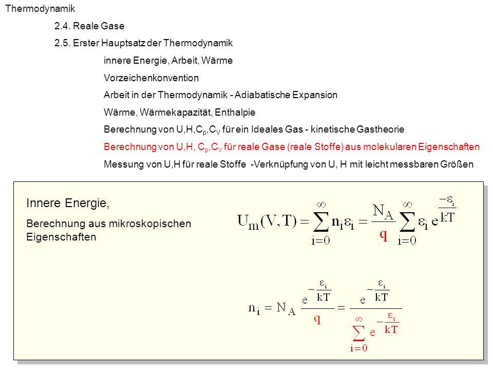 Innere Energie, Berechnung aus mikroskopischen Eigenschaften