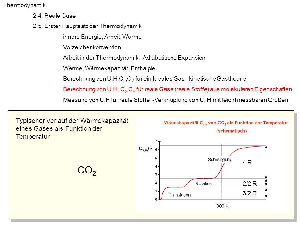 Thermodynamik 2.4. Reale Gase. 2.5. Erster Hauptsatz der Thermodynamik. innere Energie, Arbeit, Wärme.