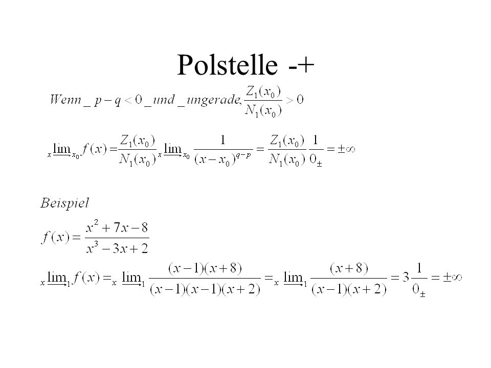 Polstelle -+