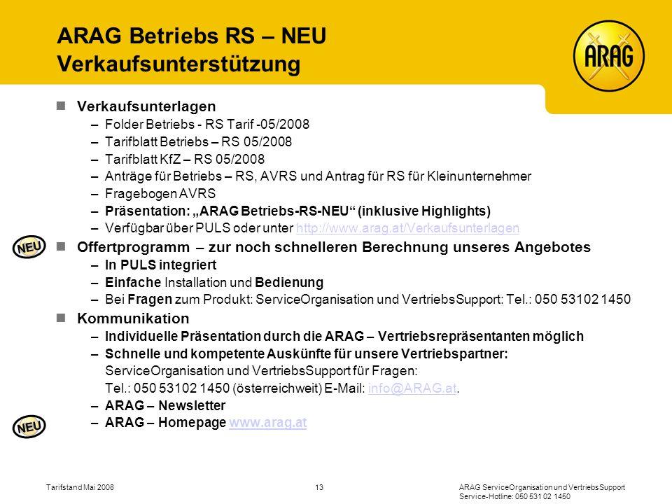 ARAG Betriebs RS – NEU Verkaufsunterstützung