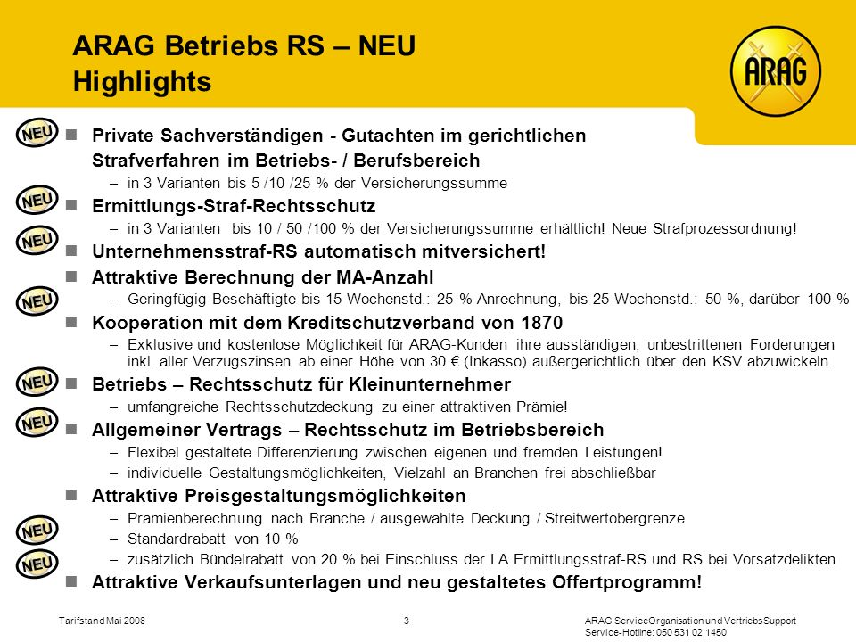 ARAG Betriebs RS – NEU Highlights