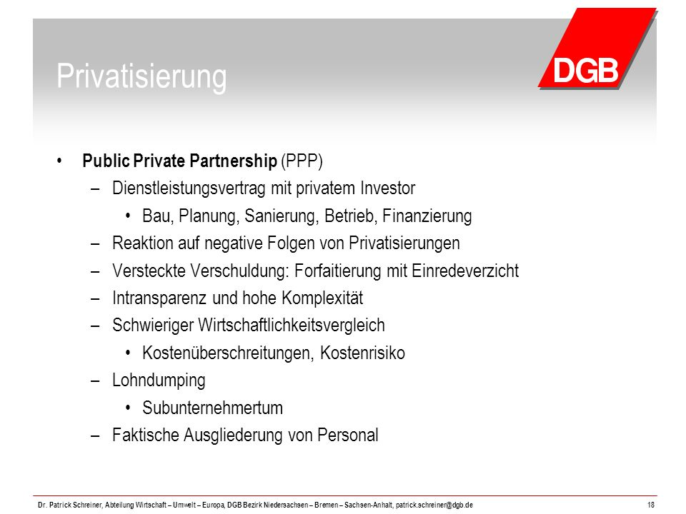 Privatisierung Public Private Partnership (PPP)