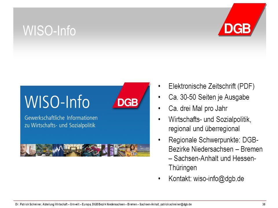 WISO-Info Elektronische Zeitschrift (PDF) Ca. 30-50 Seiten je Ausgabe