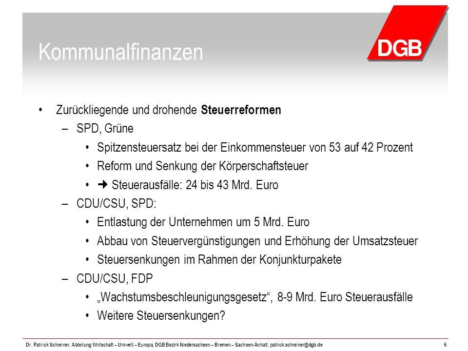 Kommunalfinanzen Zurückliegende und drohende Steuerreformen SPD, Grüne