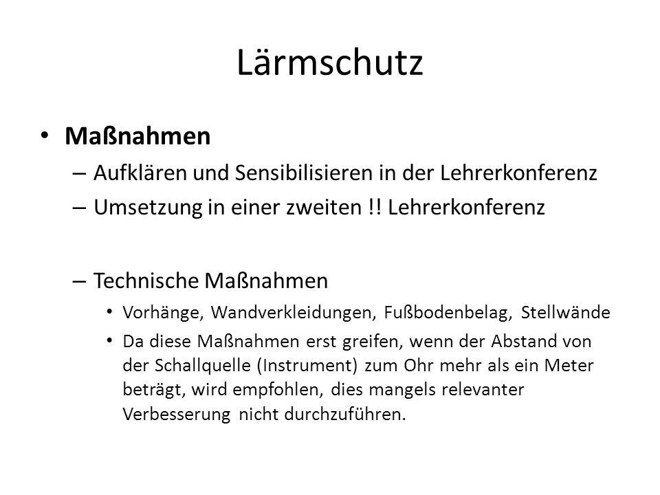 Lärmschutz Maßnahmen. Aufklären und Sensibilisieren in der Lehrerkonferenz. Umsetzung in einer zweiten !! Lehrerkonferenz.