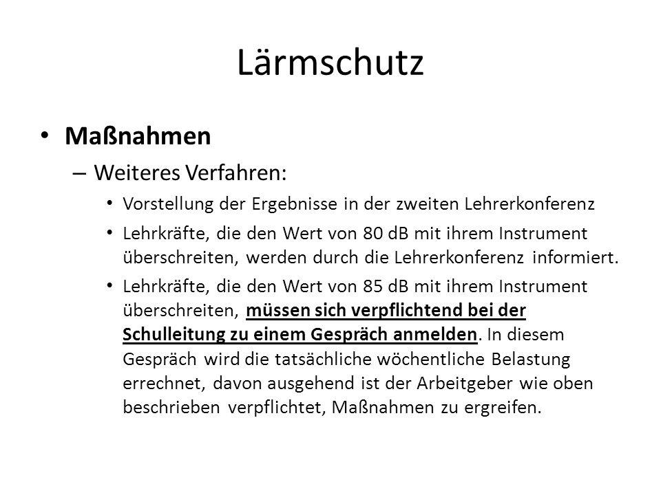 Lärmschutz Maßnahmen Weiteres Verfahren: