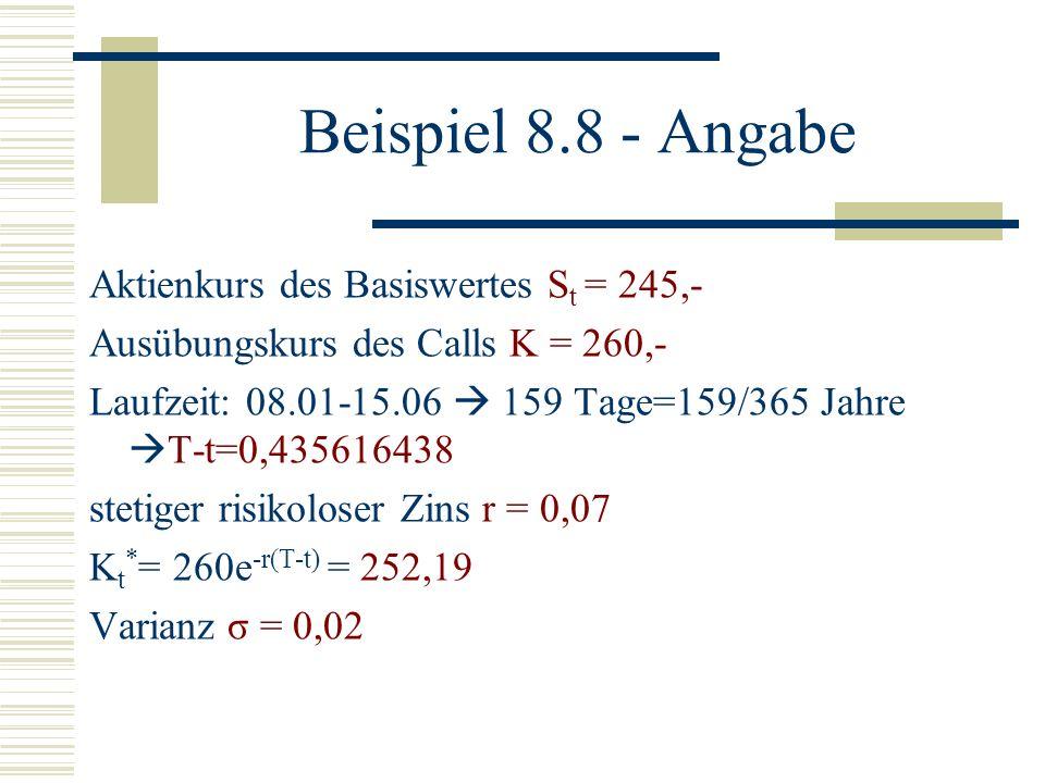 Beispiel 8.8 - Angabe Aktienkurs des Basiswertes St = 245,-
